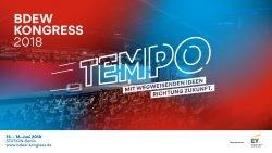 "Logo des BDEW-Kongresses 2018 mit dem Motto ""Tempo"""""